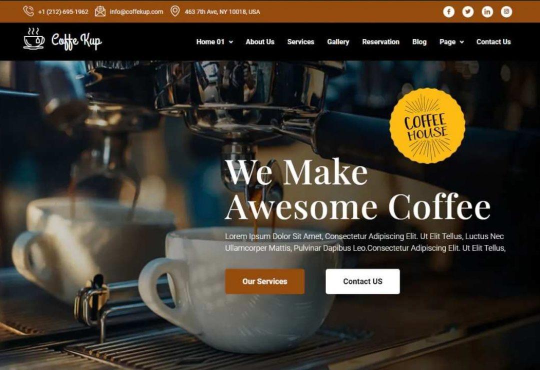 CoffeeKup – Cafe & Coffee Shop Elementor Template