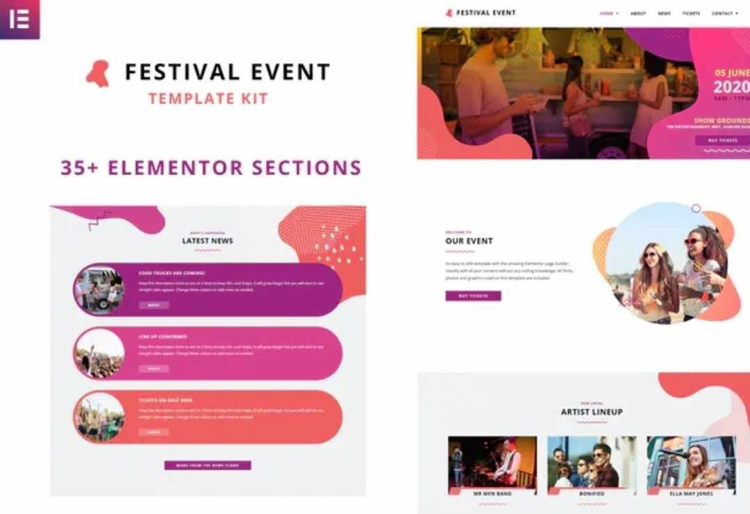 Festival Events Elementor Template Kit